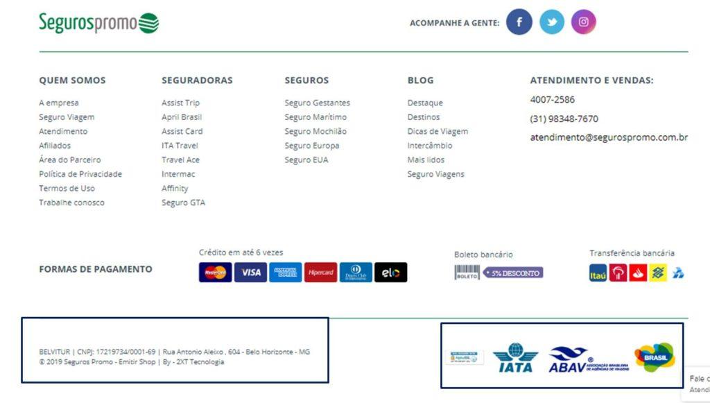 pagina da seguros promo com o cnpj e os certificados