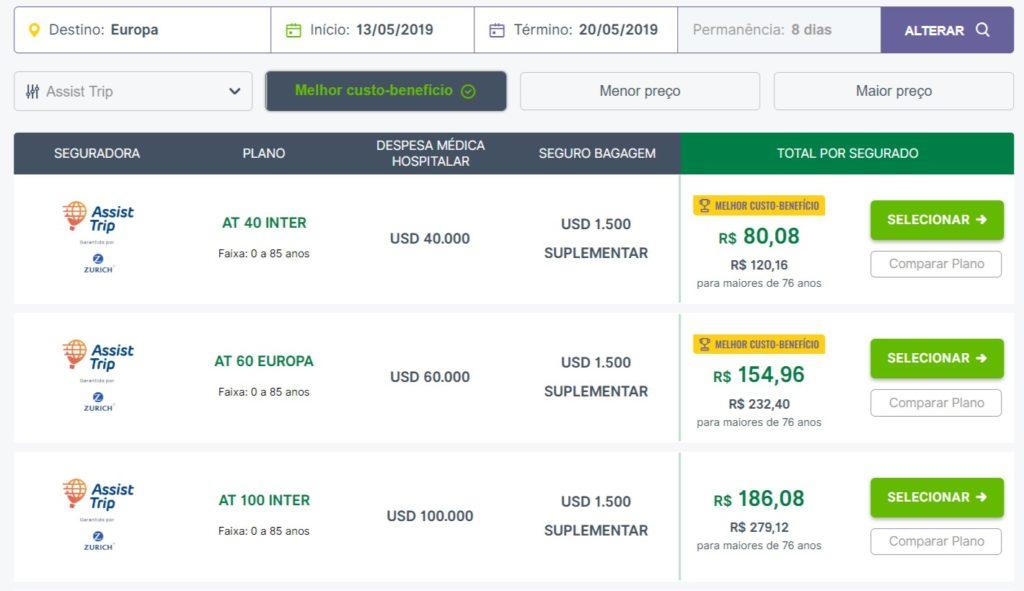 No site do Seguros Promo é possível listar os planos da Assist Trip e comparar os preços e coberturas
