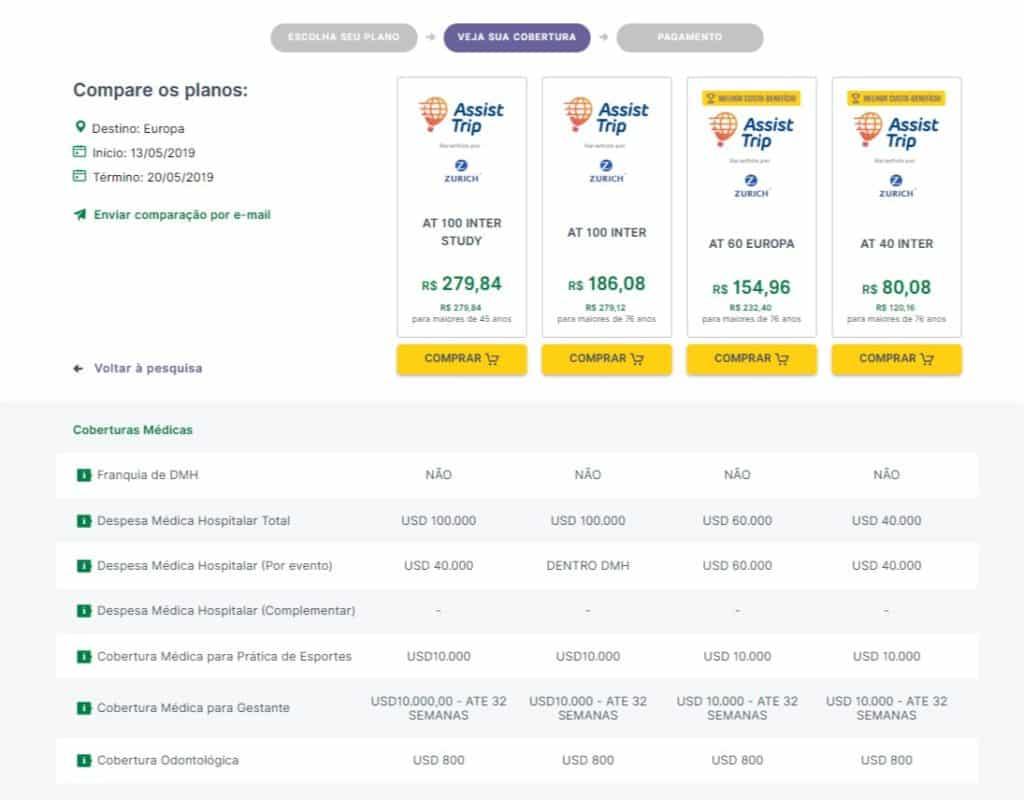 O Seguros Promo comparar até 4 planos, assim fica mais fácil escolher o seguro viagem Assist Trip ideal pra você