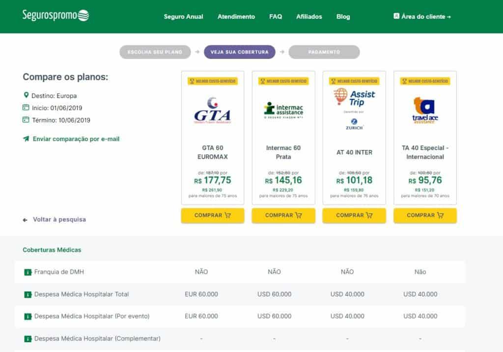 detalhe da comparação de seguro viagem espanha