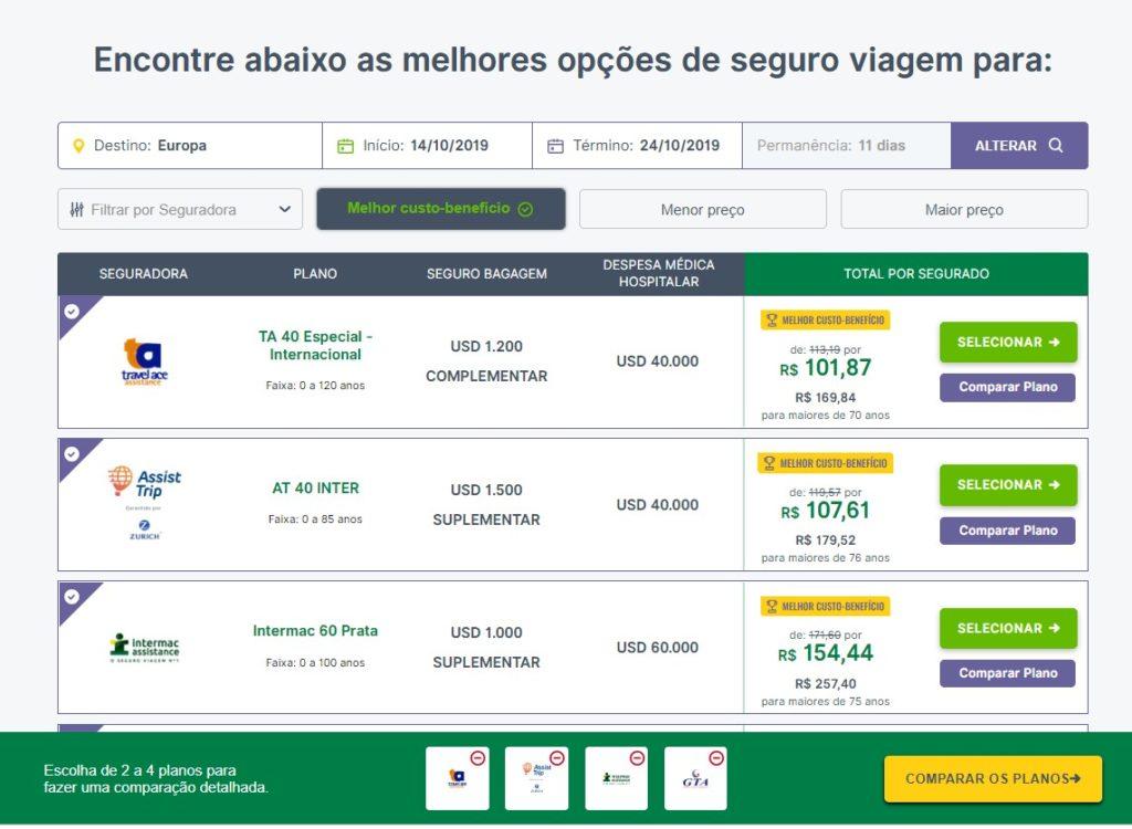 No site você consegue comparar os planos de seguro