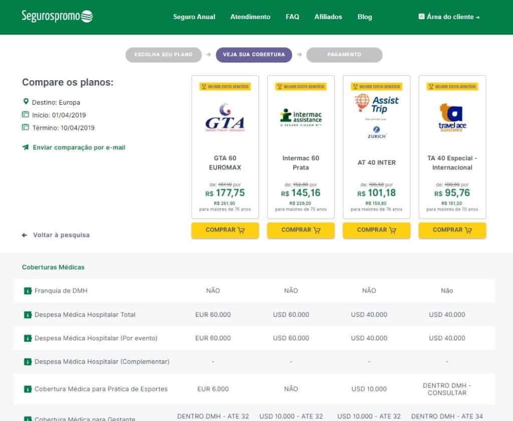 detalhe dos planos de seguro viagem belgica