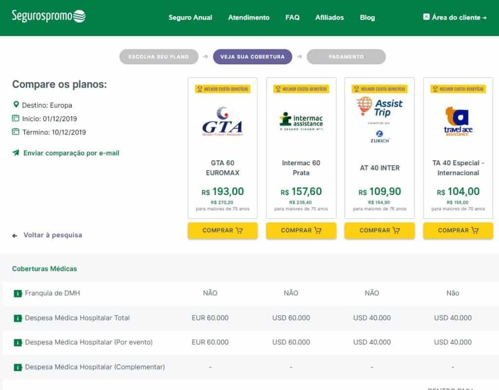 detalhe de cada plano de seguro viagem holanda