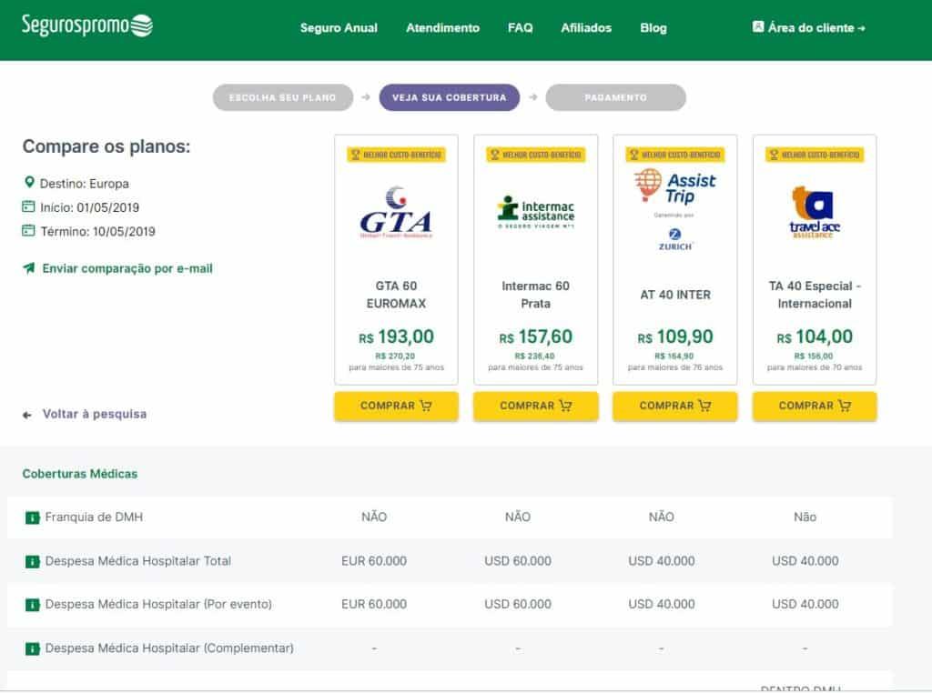 detalhe de cada seguro viagem