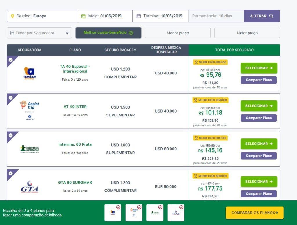 No site da Seguros Promo você pode comparar até 4 seguros