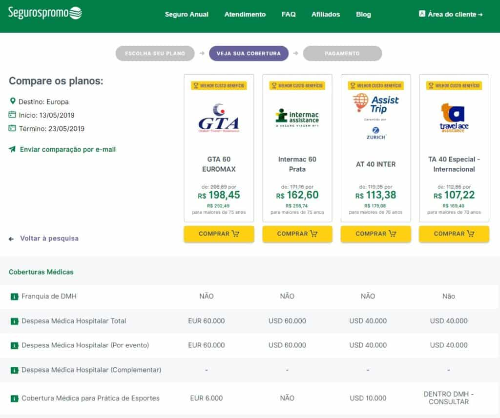 Detalhe da cobertura de cada plano de seguro viagem no site do Seguros Promo