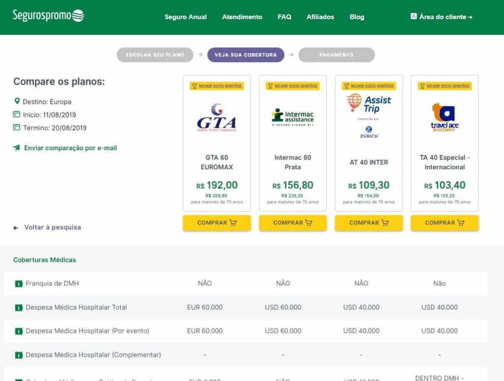 O Seguros Promo detalha e compara até 4 planos de seguro viagem, para facilitar a sua vida!