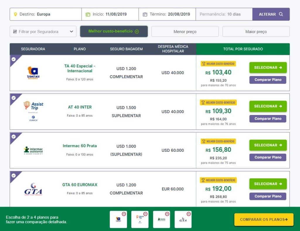 No site da Seguros Promo você consegue comparar até  4 planos de seguro viagem.