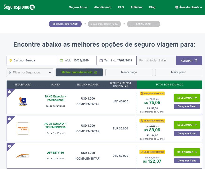 Print do site da Seguros Promo mostrando as opções de seguro viagem amsterdam