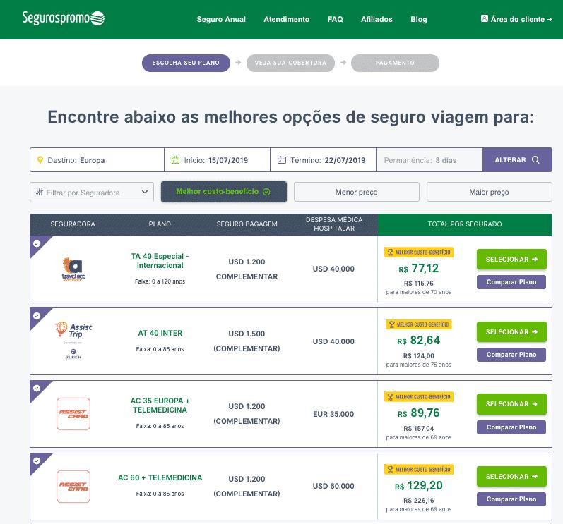 Site do seguros promo mostrando a lista de planos de seguro viagem barcelona