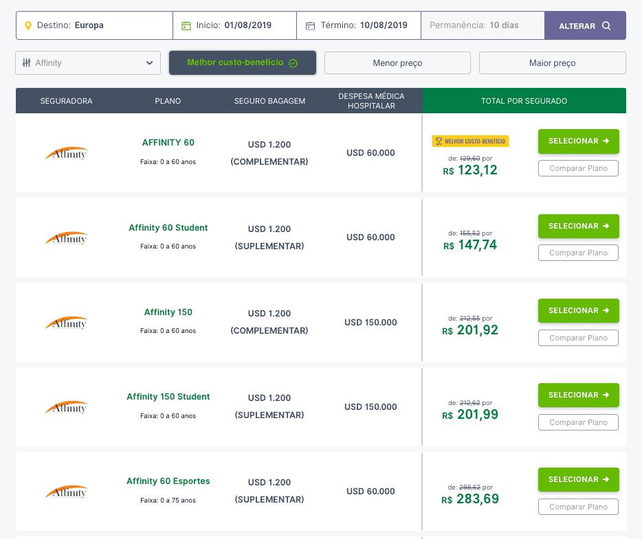 O site da Seguros Promo lista todos os planos da Affinity, é possível também comparar os planos e analisar cada detalhe da cobertura