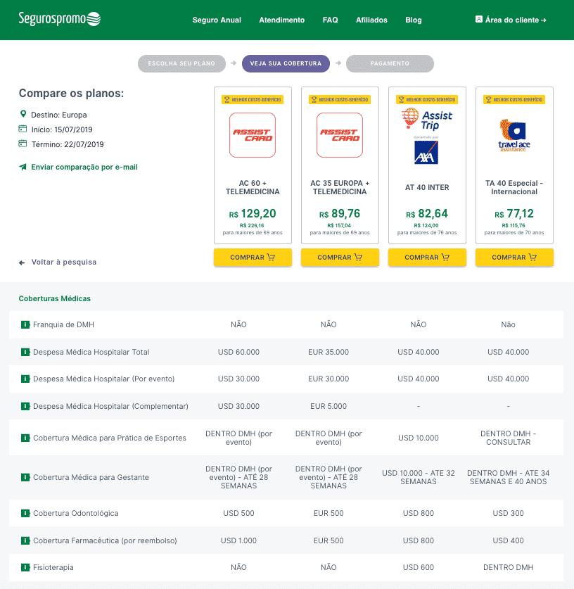 Detalhe do site da seguros promo comparando os valores e planos de seguro viagem barcelona