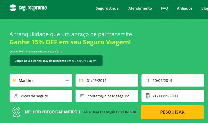 site da seguros promo mostrando sobre a cotação de seguro viagem para cruzeiro maritimo